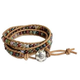 Handmade Jasper 'Inner Harmony' Wrap Bracelet (Thailand)