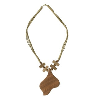 Handcrafted Oprono Wood 'Endless Love' Pendant Necklace (Ghana)