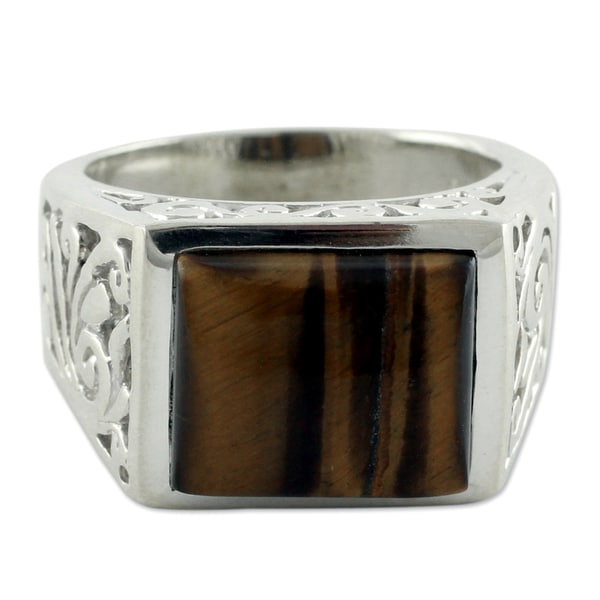 Large Bold Rectangular Tigers Eye Gemstone Set in Contemporary Fancy Fretwork of 925 Sterling Silver