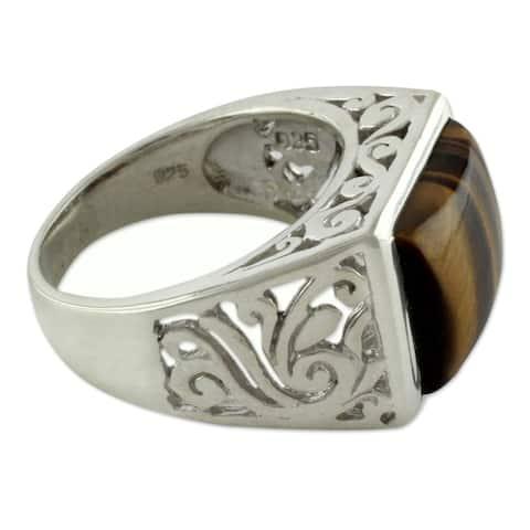 Handmade Bold Rectangular Tigers' Eye Gemstone Ring (India)