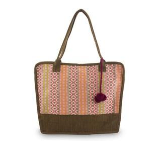 Handcrafted Cotton 'Quiet Maya Rose' Shoulder Bag (Guatemala)