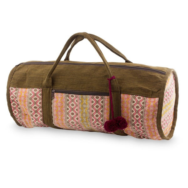 Handmade Cotton 'Rose Whisper' Travel Bag (Guatemala)