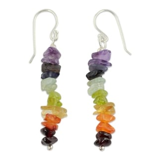 Sterling Silver 'Color Mantra' Multi-gemstone Earrings (India)