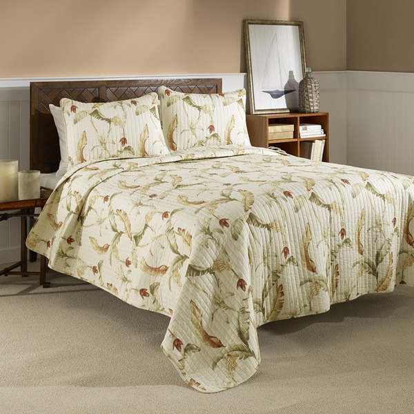 Tommy Bahama Banana Leaf Reversible Cotton 3 Piece Quilt