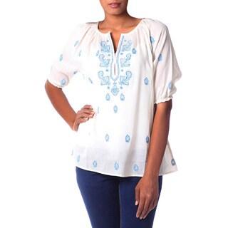 Handmade Cotton 'Majestic Blue' Top (India)
