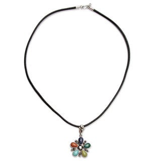 Andean Colors Multi Gemstone Cabochon Teardrops Set in 925 Sterling Silver on Long Leather Cord Womens Pendant Necklace (Peru)