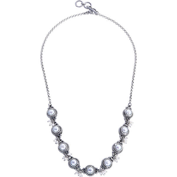 Shop Handmade 'Moons and Shooting Stars' Pearl Link Necklace (2 5-6