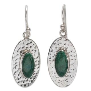 Handmade Sterling Silver 'Unconditional' Chrysocolla Dangle Earrings (Peru)