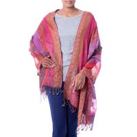 Handcrafted Wool 'Holi Parade' Shawl (India)