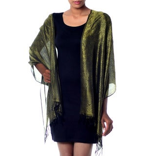 Handcrafted Varanasi Silk 'Iridescent Olive' Shawl (India)