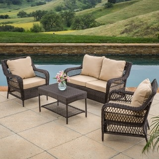 Christopher Knight Home Palermo 4-piece Outdoor Wicker Set