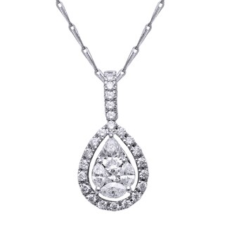 14k Gold 2/3ct TDW Pear-cut Diamond Halo Necklace (H-I, SI2-I1) - White