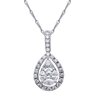 14k Gold 2/3ct TDW Pear-cut Diamond Halo Necklace (H-I, SI2-I1) - White (2 options available)