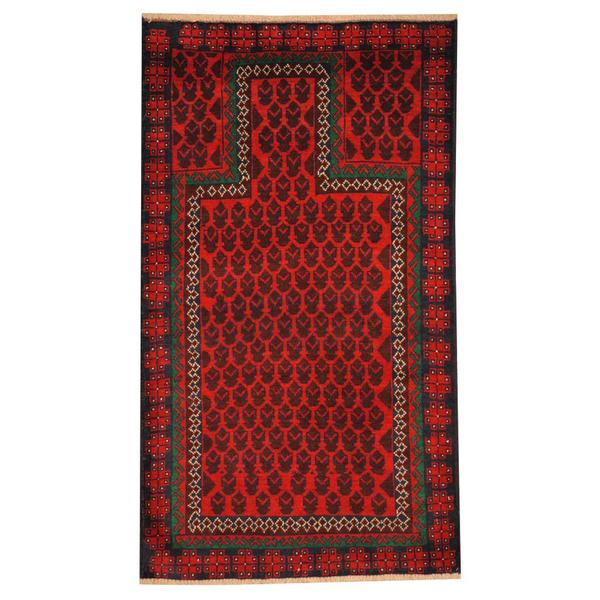 Herat Oriental Semi-antique Afghan Hand-knotted Tribal Balouchi Red/ Green Wool Rug (2'10 x 5')