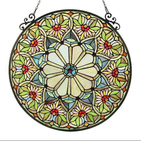 Chloe Tiffany-style Floral Design Stained Glass Window Panel