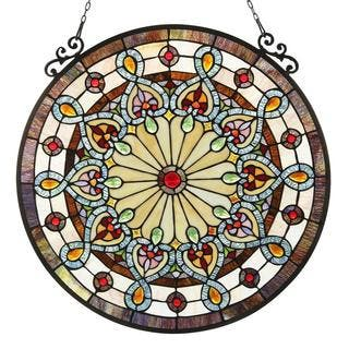 Chloe Tiffany-style Victorian Design Stained Glass Window Panel|https://ak1.ostkcdn.com/images/products/9734067/P16908517.jpg?impolicy=medium