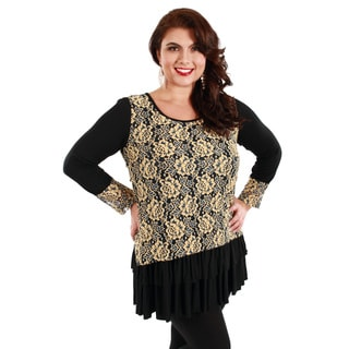 Firmiana Women's Plus Size Black and Beige Floral Long Sleeve Top