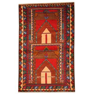 Herat Oriental Semi-antique Afghan Hand-knotted Tribal Balouchi Red/ Ivory Wool Rug (2'11 x 4'7)