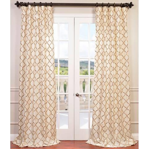 Exclusive Fabrics Tunisia Embroidered Faux Silk Curtain Panel