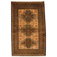 Herat Oriental Semi-antique Afghan Hand-knotted Tribal Balouchi Ivory/ Navy Wool Rug (2'11 x 4'7)