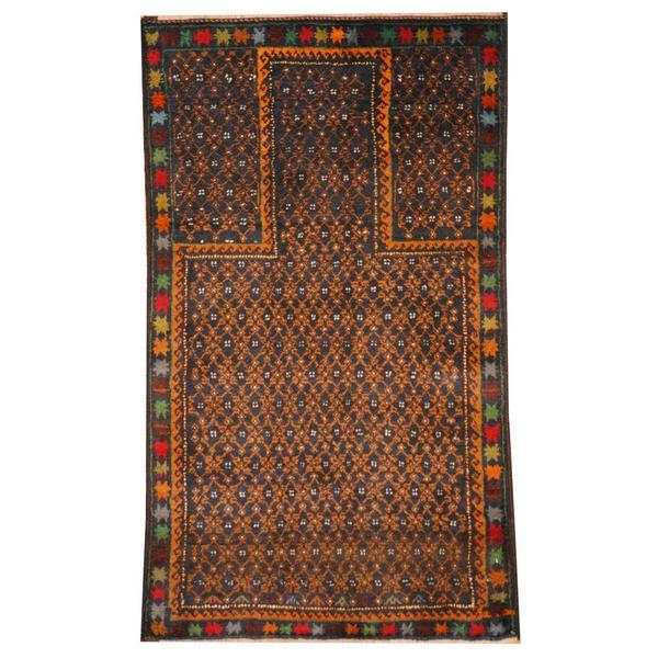 Herat Oriental Semi-antique Afghan Hand-knotted Tribal Balouchi Navy/ Gold Wool Rug (2'7 x 4'7)