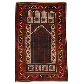 Herat Oriental Semi-antique Afghan Hand-knotted Tribal Balouchi Burgundy/ Red Wool Rug (2'8 x 4'1)