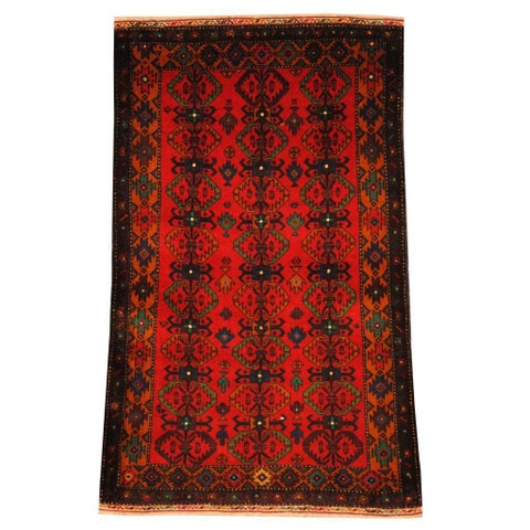 Handmade Herat Oriental Semi-antique Afghan Tribal Balouchi Red/ Gold Wool Rug - 2'8 x 4'5 (Afghanistan)