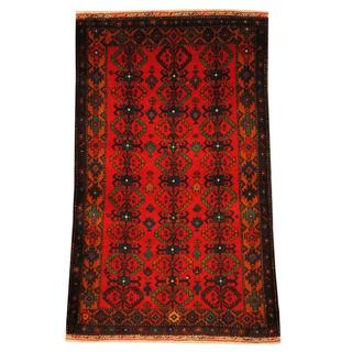 Handmade Herat Oriental Semi-antique Afghan Tribal Balouchi Red/ Gold Wool Rug - 2'8 x 4'5 (Afghanistan)