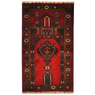 Herat Oriental Semi-antique Afghan Hand-knotted Tribal Balouchi Red/ Navy Wool Rug (2'9 x 4'7)