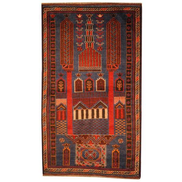 Handmade Herat Oriental Semi-antique Afghan Tribal Balouchi Blue/ Red Wool Rug - 2'9 x 4'8 (Afghanistan)