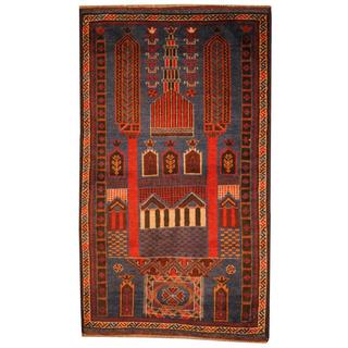 Herat Oriental Semi-antique Afghan Hand-knotted Tribal Balouchi Blue/ Red Wool Rug (2'9 x 4'8)