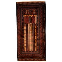 Herat Oriental Semi-antique Afghan Hand-knotted Tribal Balouchi Beige/ Brown Wool Rug (2'2 x 4'5)