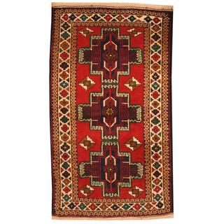 Herat Oriental Semi-antique Afghan Hand-knotted Tribal Balouchi Red/ Ivory Wool Rug (2'7 x 4'6)