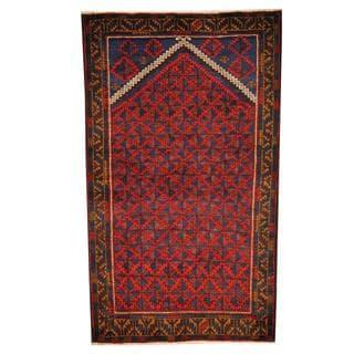Herat Oriental Semi-antique Afghan Hand-knotted Tribal Balouchi Blue/ Black Wool Rug (2'8 x 4'8)