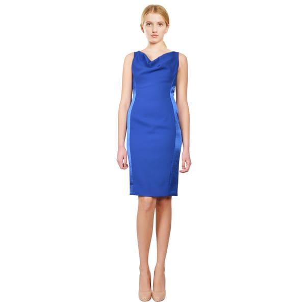 Cowl Neck Silk Sheath Wedding Gowns: Shop Rene Ruiz Cobalt Blue Cowl Neck Sleeveless Satin