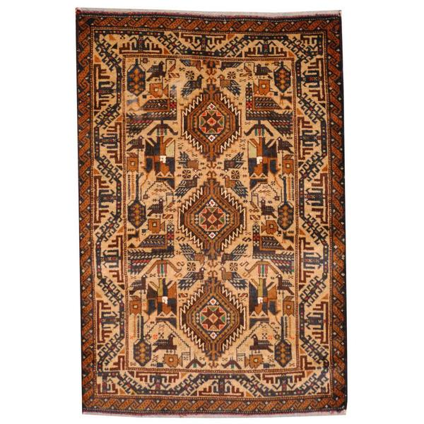 Herat Oriental Semi-antique Afghan Hand-knotted Tribal Balouchi Ivory/ Navy Wool Rug (2'10 x 4'3)