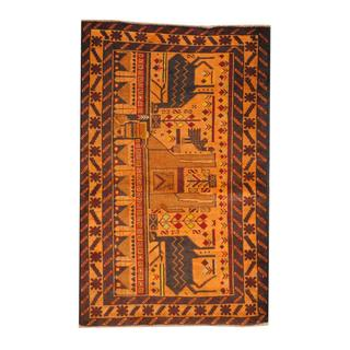 Herat Oriental Semi-antique Afghan Hand-knotted Tribal Balouchi Gold/ Red Wool Rug (2'8 x 4'3)