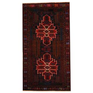 Herat Oriental Semi-antique Afghan Hand-knotted Tribal Balouchi Black/ Red Wool Rug (2'7 x 4'9)