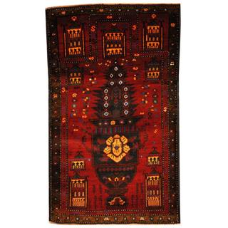 Herat Oriental Semi-antique Afghan Hand-knotted Tribal Balouchi Burgundy/ Olive Wool Rug (2'10 x 4'10)