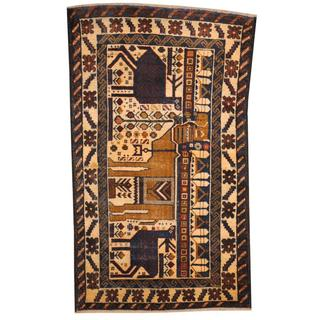 Herat Oriental Semi-antique Afghan Hand-knotted Tribal Balouchi Ivory/ Navy Wool Rug (2'6 x 4'3)