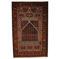 Herat Oriental Semi-antique Afghan Hand-knotted Tribal Balouchi Navy/ Gold Wool Rug (2'11 x 4'7)