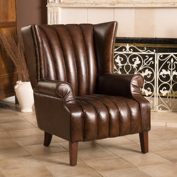 Merveilleux Grisson Leather Chair By Christopher Knight Home