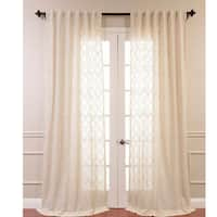 Exclusive Fabrics Saida Embroidered Faux Linen Sheer Curtain Panel