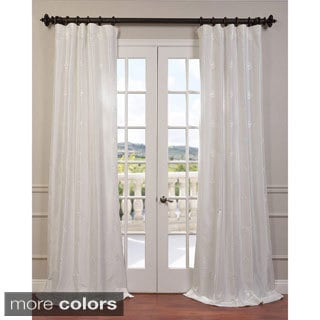 Exclusive Fabrics Trophy Embroidered Faux Silk Taffeta Curtain Panel