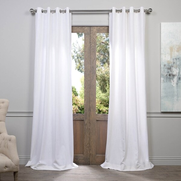 Exclusive Fabrics Heavy Faux Linen Grommet Curtain Panel. Opens flyout.