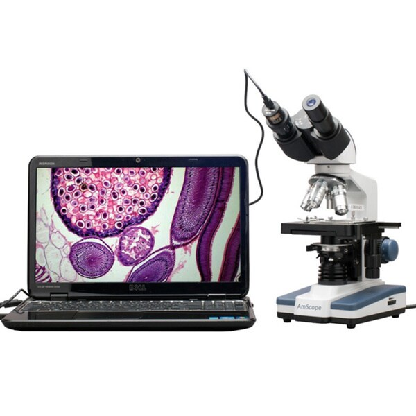 40x-2000x LED Digital Binocular Compound Microscope with 3D Stage and 1.3MP USB Camera