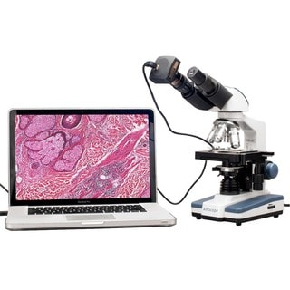 40x-2000x LED Binocular Digital Compound Microscope with 3D Stage and USB Camera