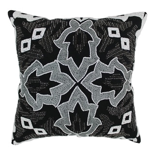 Blazing Needles 20-inch Symmetrical Floral Beaded Throw Pillow