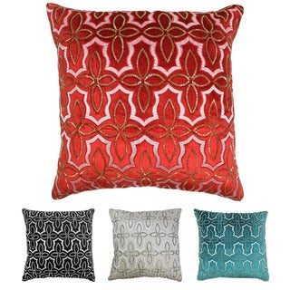Blazing Needles 20-inch Moroccan Patterned Beaded Velvet Throw Pillow