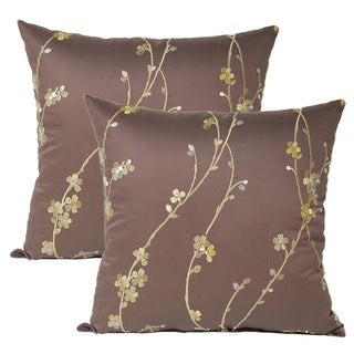 Calico Chocolate 17-inch Throw Pillows (Set of 2)